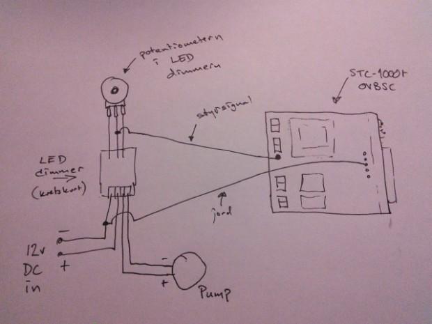 Skiss på pumpstyrning med 12vDC och dimmer samt använding av extra port från STC.
